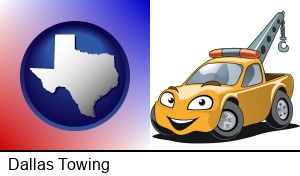 Dallas, Texas - a yellow tow truck