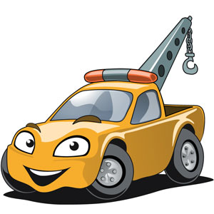 a yellow tow truck